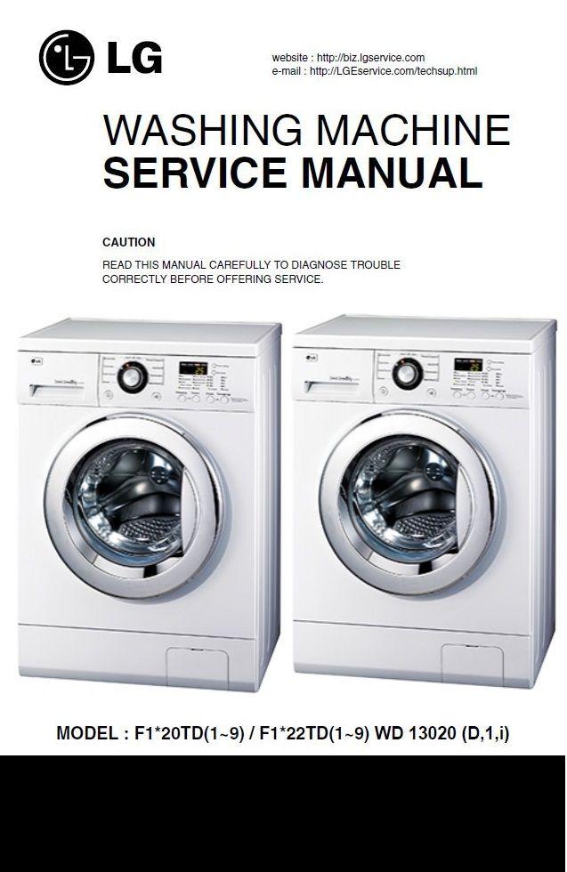 Lg F1220td F1220td5 F1220tdr Washing Machine Service Manual Washing Machine Service Washing Machine Manual