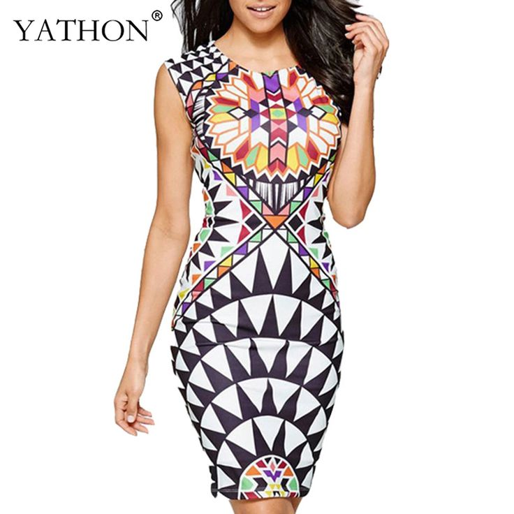 YATHON Womens Vintage Summer Mini Bodycon Dress Elegant Print O-neck Sleeveless Casual Work Office Vestidos Pin Up Prom Party Pencil Dresses Female Clothes