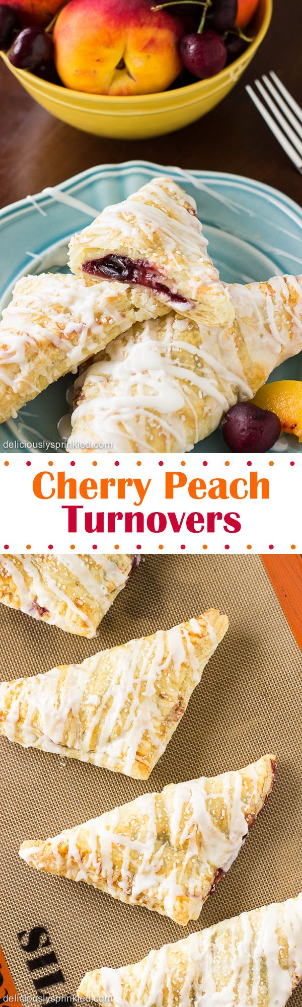 Cherry Peach Turnovers- these turnovers are so easy to make and they're delicious!