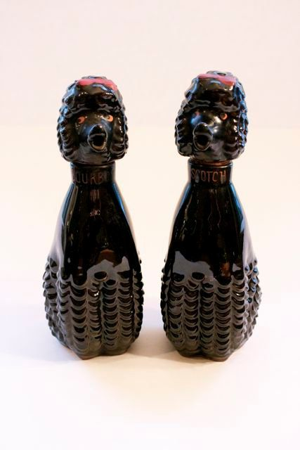 1950s Poodle Decanter Set Of Two Black Poodle Scotch