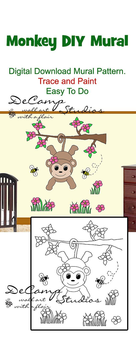 30 best day care images on pinterest animals drawings and diy do it yourself monkey wall art mural for baby girl nursery or kids room