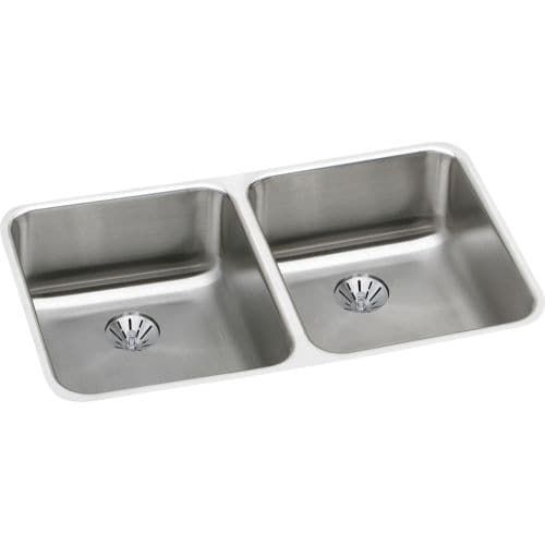 Exceptional Elkay ELUHAD311845PD Gourmet 30 3/4 Double Basin Undermount Stainless Steel  (Silver)