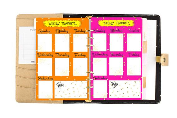 Filofax A5 weekly planner insert planner pages neon by Sorocashop
