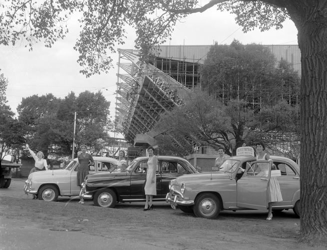 Women Standing with French Motor Cars, Melbourne, Victoria, Mar 1956
