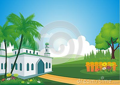 Mosque with beautiful natural scenery - cartoon design,  beautiful view, pretty and funny