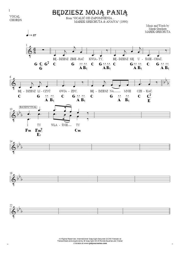 Będziesz moją panią sheet music by Marek Grechuta. From album Ocalić od zapomnienia... Marek Grechuta & Anawa (1990). Part: Notes, lyrics and chords for vocal with accompaniment.