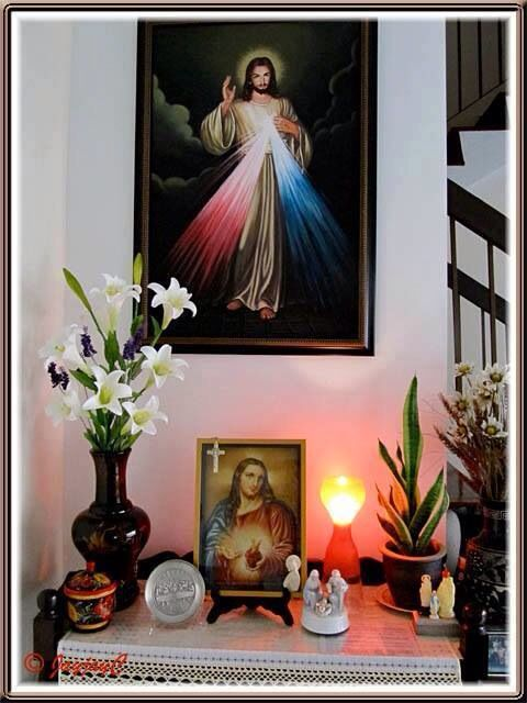 Beautiful ! A personal altar area for personal worship of what this person values and wants to affirm in their life - what do you want to affirm - if the church of God is in your life - why not bring the church home to your home?