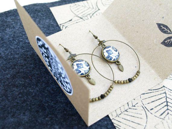Boucles d'oreilles florales bleu ethnique par Bouclelacreations