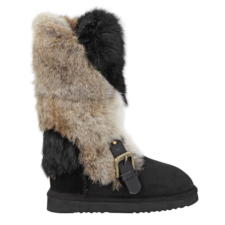 wrapped rabbit. Our wrapped fur line of boots was inspired by the beauty of Raquel Welch in the film classic 1,000,000 BC. The rabbit wrap features luxurious rabbit entwining the leg with leather belt and buckle detailing ➺ mou-online.com  #mou #mouboots