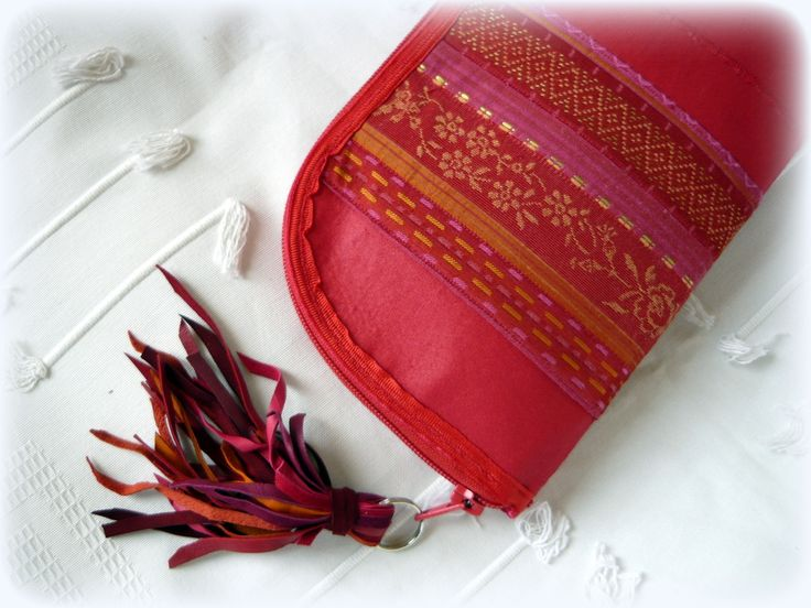 Handmade by Judy Majoros - Red fringe wallet-clutch with multicolour leather fringe. Recycled wallet-bag.