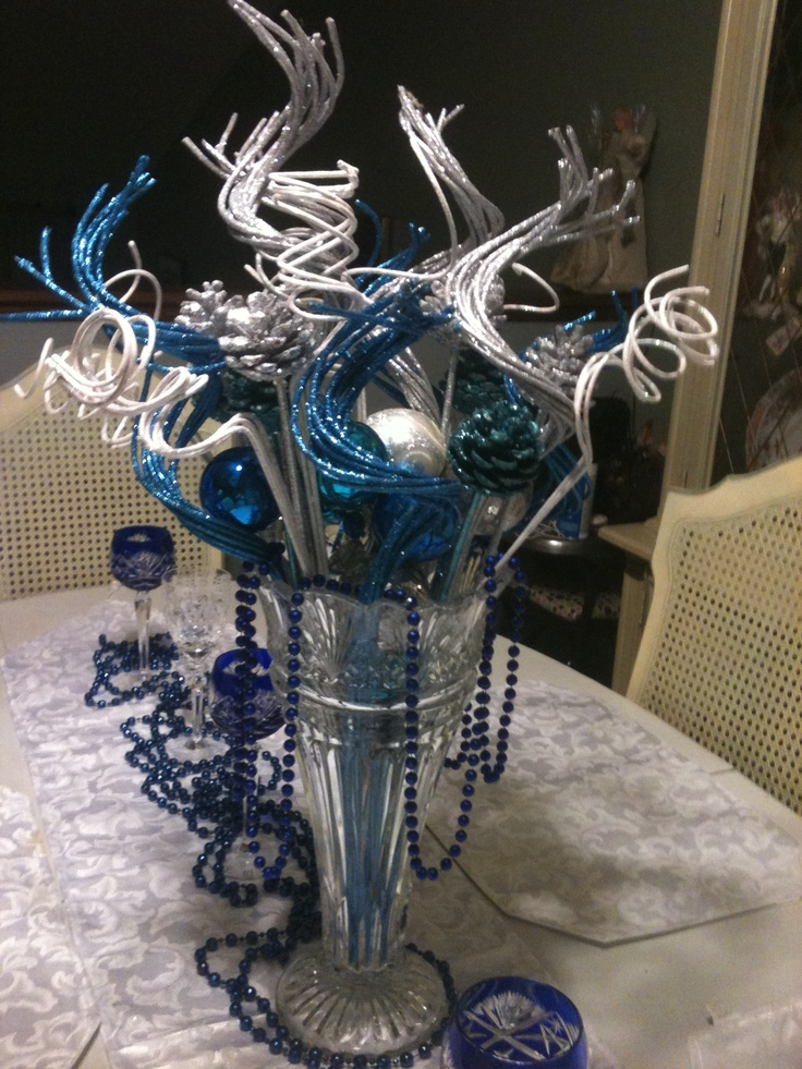 Holiday table centerpiece blue silver holidays