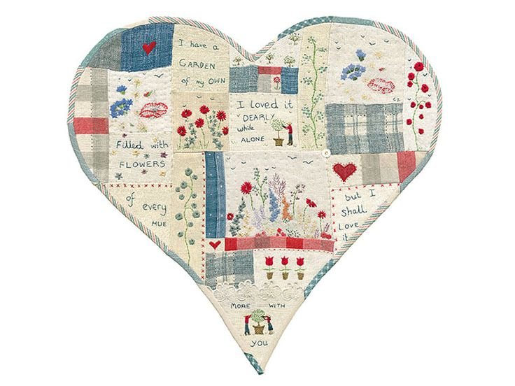 Print of an original heart-shaped patchwork sampler made by Caroline Zoob with text by Thomas Campion.