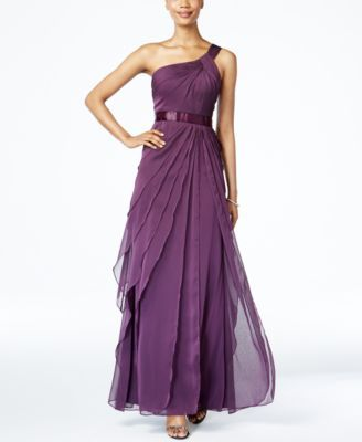 Adrianna Papell One-Shoulder Tiered Chiffon Gown