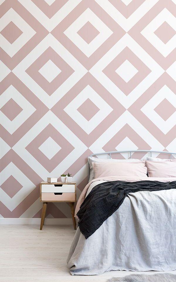 Dusky Pink White Geometric Wallpaper Mural Murals Wallpaper Bedroom Wall Designs Girls Room Wallpaper Bedroom Wall Paint