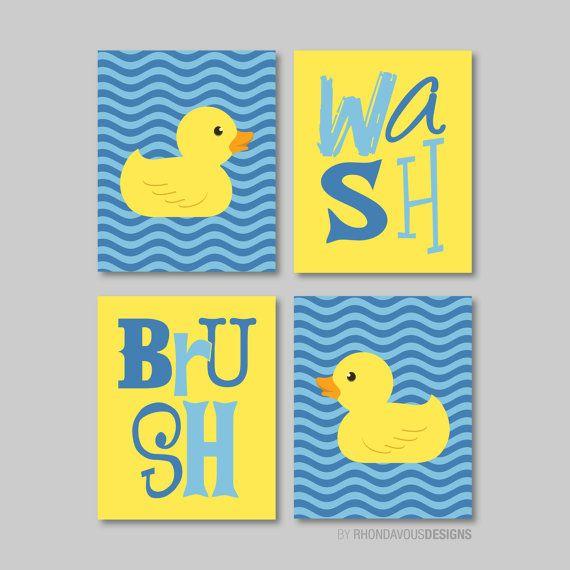 Rubber Ducky Wash Brush Print Quad - Baby. Decor. Kid. Bath. Duck. Duckie. Wave. Chevron - Cobalt Blue Yellow - You Pick the Size (NS-338)