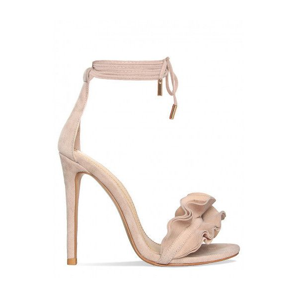 Savana Nude Suede Lace Up Ruffle Heels : Simmi Shoes ($41) ❤ liked on Polyvore featuring shoes, pumps, nude footwear, suede lace up shoes, nude suede shoes, suede leather shoes and nude court shoes