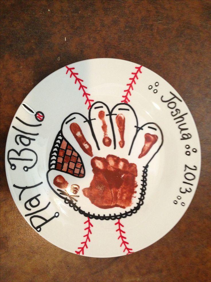 Baseball Handprint Plate