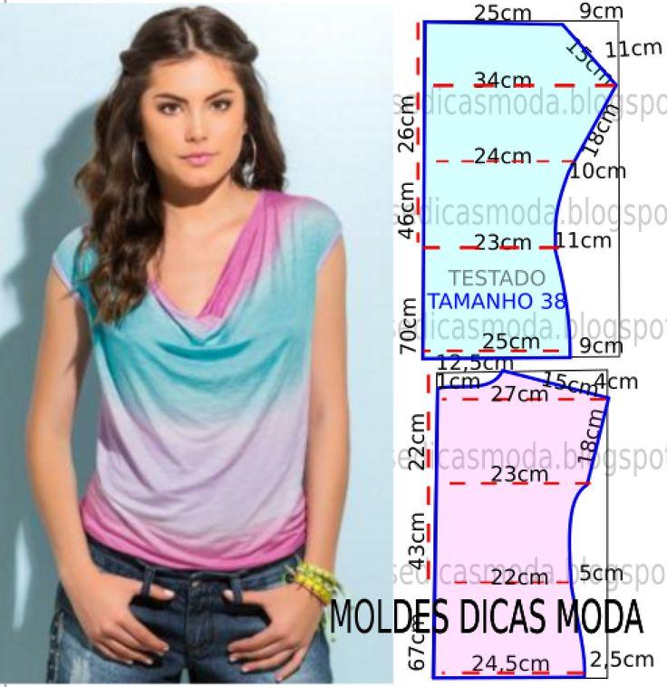 Blusa com gola drapeada | Moldes Moda por Medida | Bloglovin'