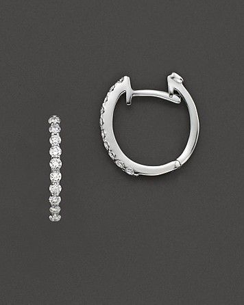 Roberto Coin 18 Kt. White Gold Small Diamond Hoop Earrings Love these on. I never take them off!