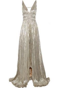 oscar de la renta pleated lame gown