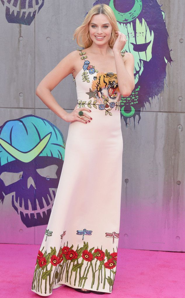 Leave it to Margot to pull off a tiger-face embellishment. The star wore Gucci to the European premiere of Suicide Squad.