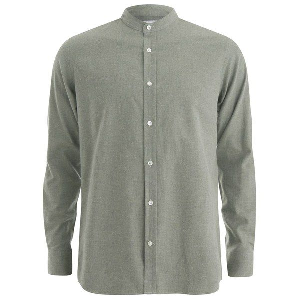 Private White VC Men's Grandad-Collar Shirt - Khaki: available at Coggles.com
