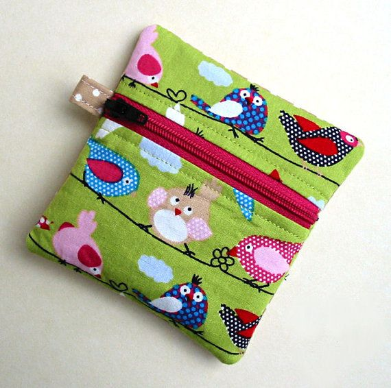 Small Zipped Pouch Birdies and Dots by PoppyOhPoppy on Etsy