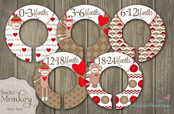 Cute Sock Monkey Baby or Child Closet Organizing Dividers