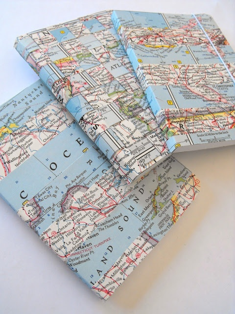 Ruby Murrays Musings: Ways with Vintage Maps - Washi Tape Notebooks