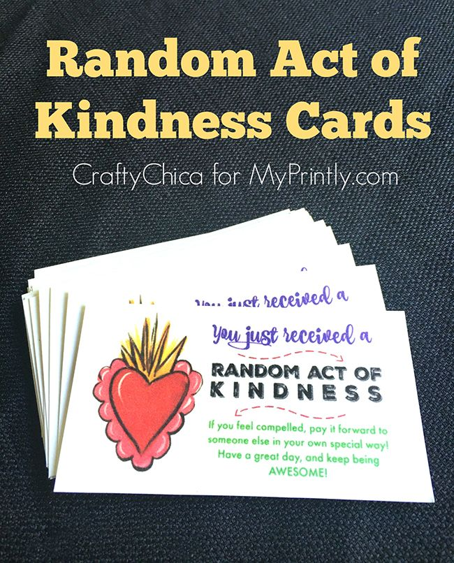 40th Birthday Random Acts Of Kindness: Printable Random Act Of Kindness Cards