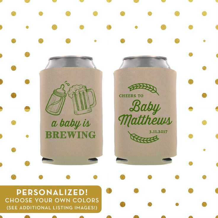 A Baby Is Brewing Can Coolers - Shower or Party Favor - Personalized, Choose Your Colors! - Beer and Drink Coozies by laurelcovecreative on Etsy https://www.etsy.com/listing/490802827/a-baby-is-brewing-can-coolers-shower-or