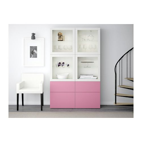 BESTÅ Storage combination w/glass doors - Lappviken pink/Sindvik white clear glass, drawer runner, push-open - IKEA