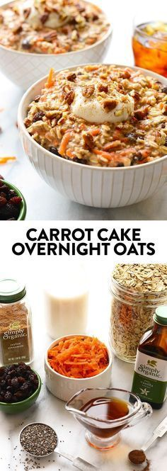 A full serving of veggies at breakfast? SURE WHY NOT! These carrot cake overnight oats will give you just that plus all of the delicious flavors of carrot cake!