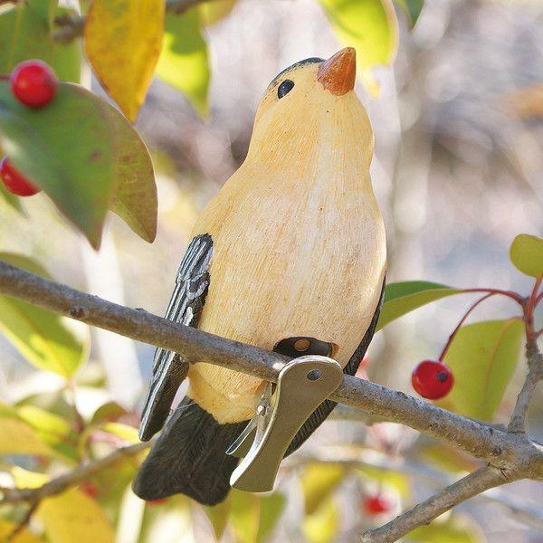 ... 小鳥クリップガーデンオーナメント -黄- (置物 オーナメント 庭 かわいい 鳥 野鳥 動物 オブジェ ...