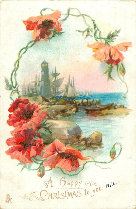 vintage Christmas card with poppies