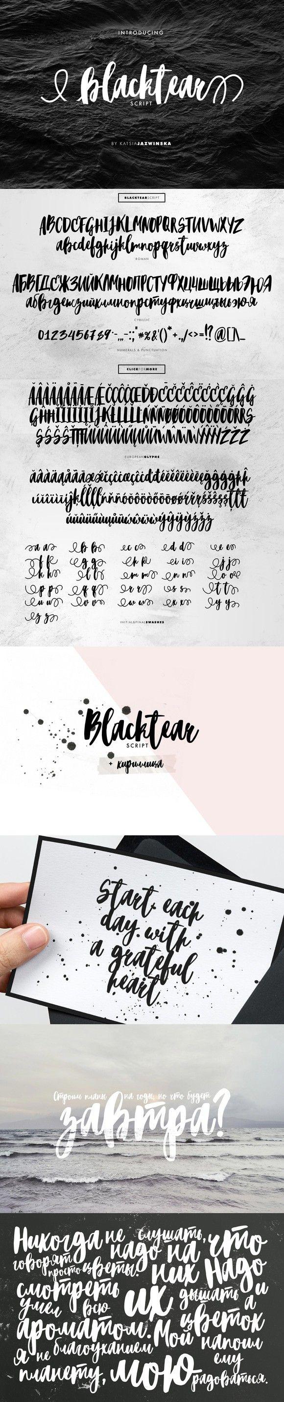 Blacktear Script | Roman&Cyrillic. Script Fonts. $16.00