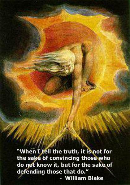 William Blake, on telling the truth- Conhecido por seus livros 'iluminados', é, também, pioneiro nas artes visuais e na poesia. -Autor literário que ilustra seus próprios livros.