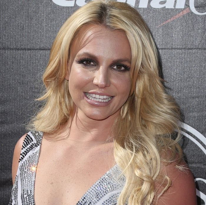 Britney Spears in Tacky Bedazzled Dress and Le Silla Heels