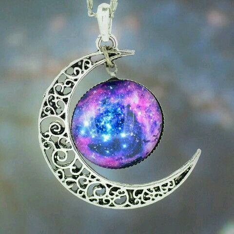 Beautiful moon and galaxy neckless