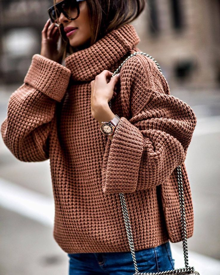Oversized sweater and Kenneth Cole watch for chic style.