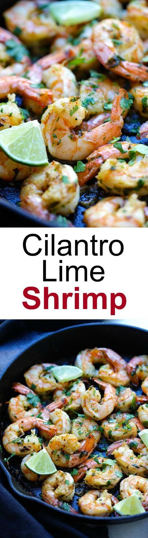 Cilantro Lime Shrimp - best shrimp ever with cilantro, lime & garlic on sizzling skillet. Crazy delicious recipe, takes 15 mins | http://rasamalaysia.com