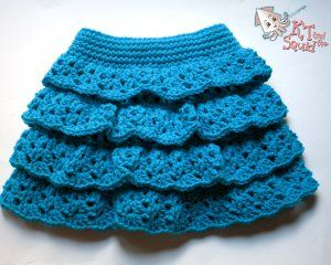 Pattern Release: Tiered Ruffle Skirt! | Adventures of KT and the Squid --  This yarn is Red Heart With Love in Blue Hawaii.
