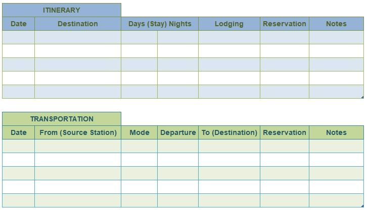 7 Best Travel Itinerary Templates And Examples Free Vacation