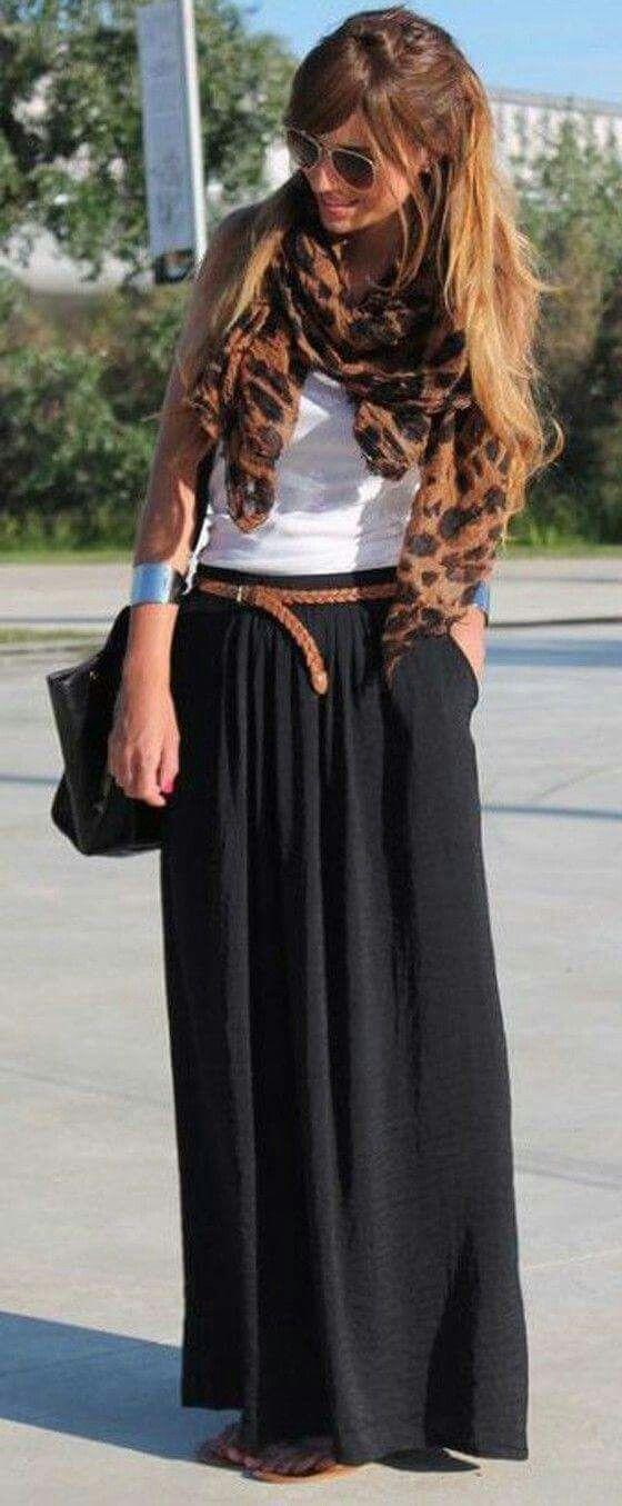 falda larga maxi skirt negro blanco café bufanda
