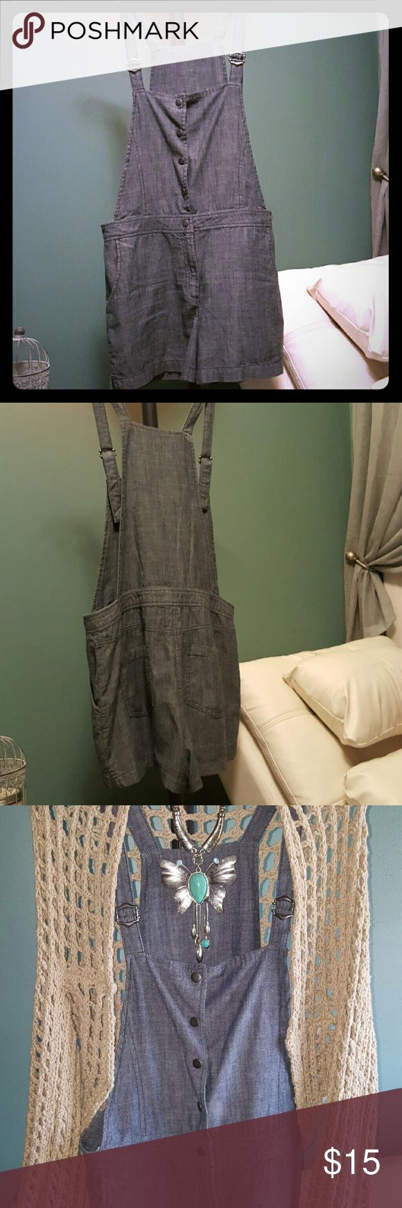 """Denim Short Romper Denim romper that comes mid upper thigh. Its not mini but not long enough for midi either. It's RESPECTABLE, let's just put it like that. Snaps up the front from waist up. Adjustable shoulder straps, so if u prefer longer shorts you can adjust to do just that. I included a """"pairing"""" pic for effect! French Connection Shorts"""
