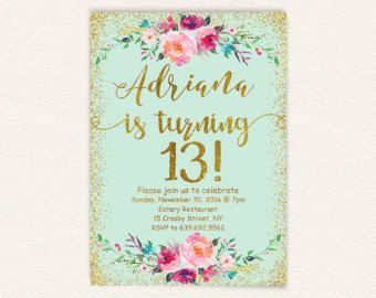 13th birthday invitation for girl pink gold teen birthday