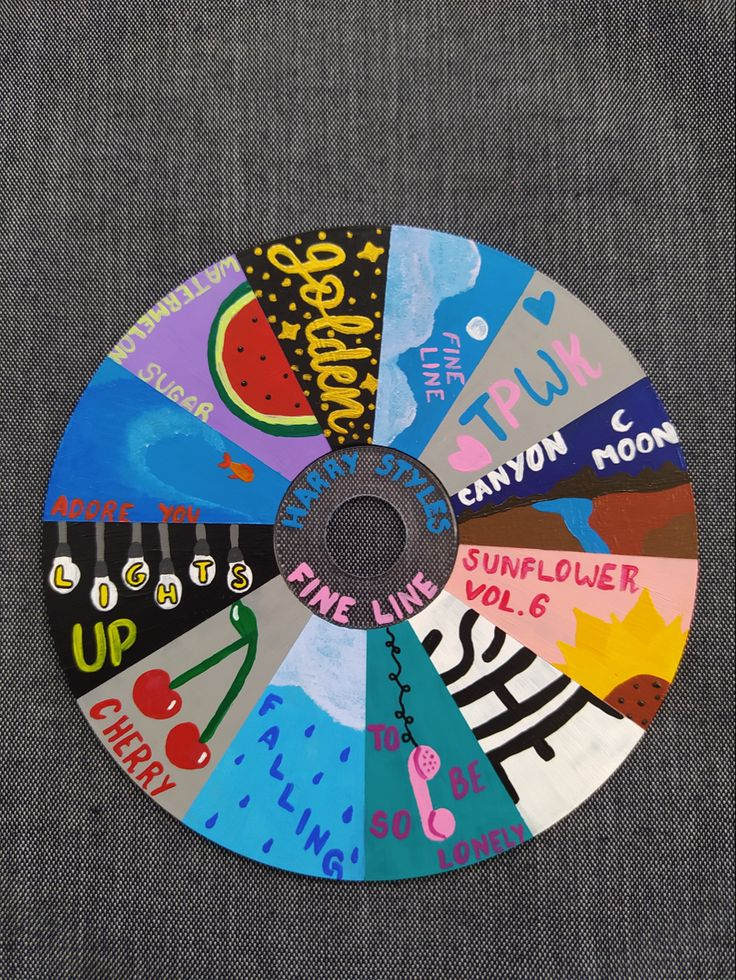 puerta Easy Canvas Art, Small Canvas Art, Mini Canvas Art, Diy Canvas, Cd Wall Art, Cd Art, Vinyl Record Art, Vinyl Art, Harry Styles Drawing