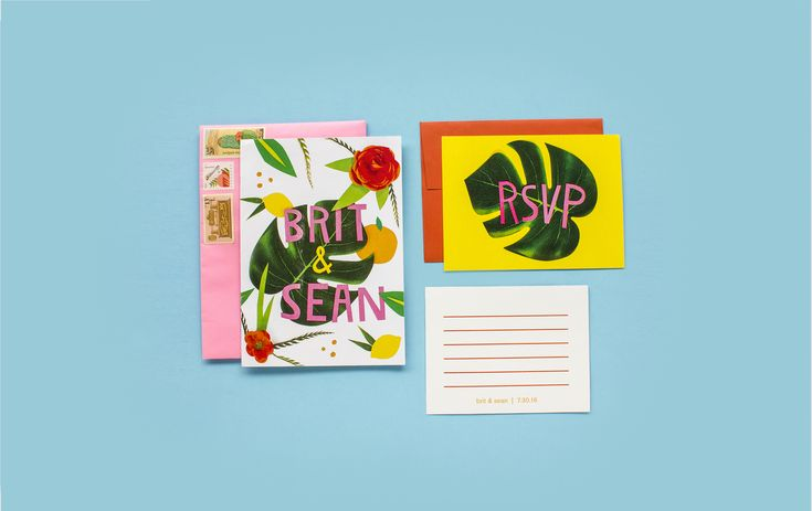 Tropical Themed Colorful Bright Wedding Invitation Suite