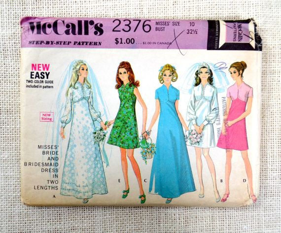 McCalls 2376; ©1970; Misses Bride and Bridesmaid Dress in Two Lengths. High waisted dress has center back zipper. Long sleeves are gathered