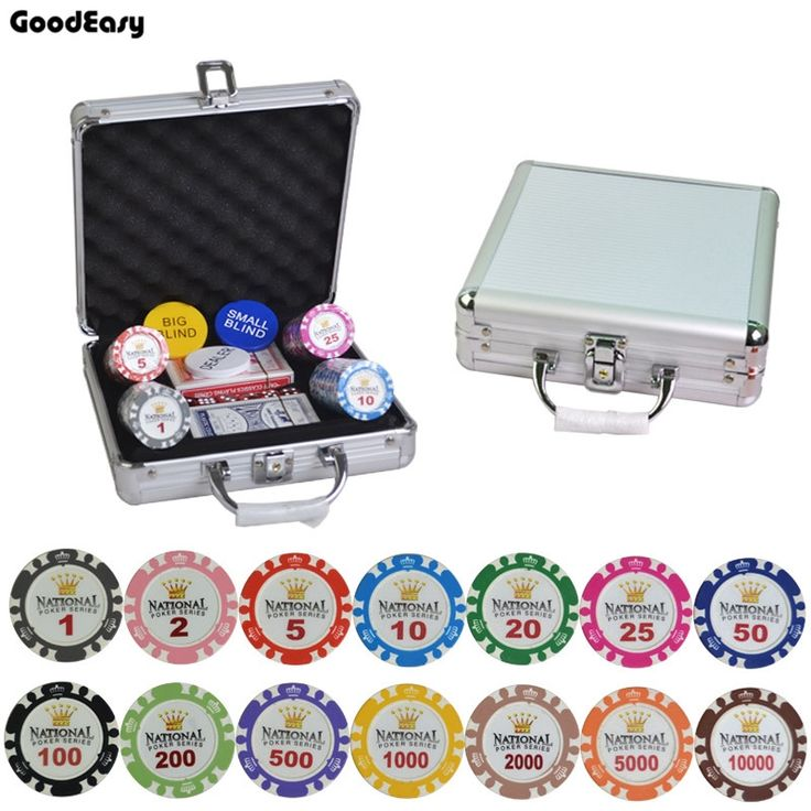71.60$  Buy now - http://alie3j.shopchina.info/go.php?t=32807033161 - 100-500PCS/SET 14g/PCS Clay Gold Crown Poker Chips Sets Casino Chips Texas Hold'em Poker Sets With Metal Box Aluminum Case 71.60$ #aliexpress